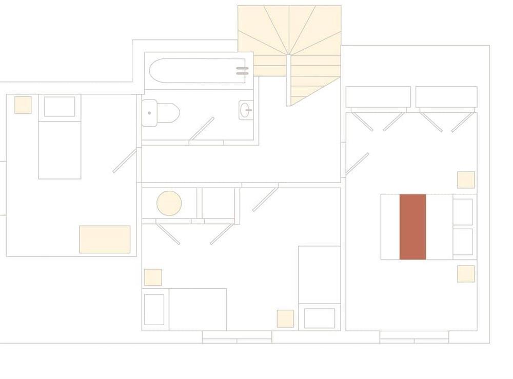 1 Castle Cottage Floor Plan - First Floor at 1 Castle Cottage in Bow Creek, Nr Totnes, South Devon., Great Britain
