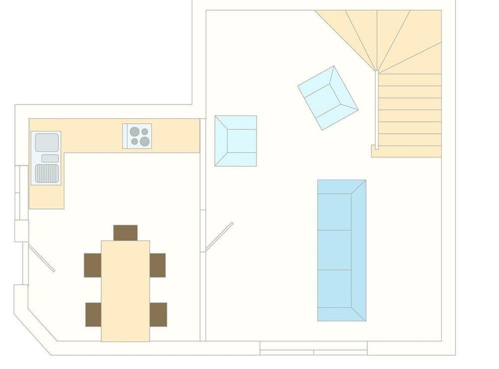 1 Castle Cottage Floor Plan - Ground Floor at 1 Castle Cottage in Bow Creek, Nr Totnes, South Devon., Great Britain
