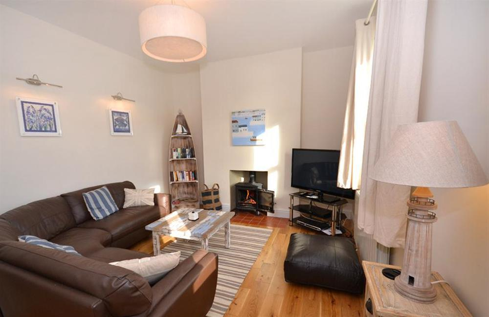 The contemporary lounge with woodburner at 1 River View, Stoke Gabriel
