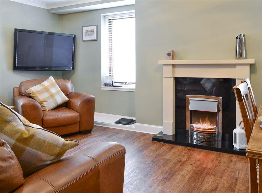 Welcoming living area of the open-plan living space at 1 St Ellas House in Eyemouth, The Scottish Borders, Berwickshire