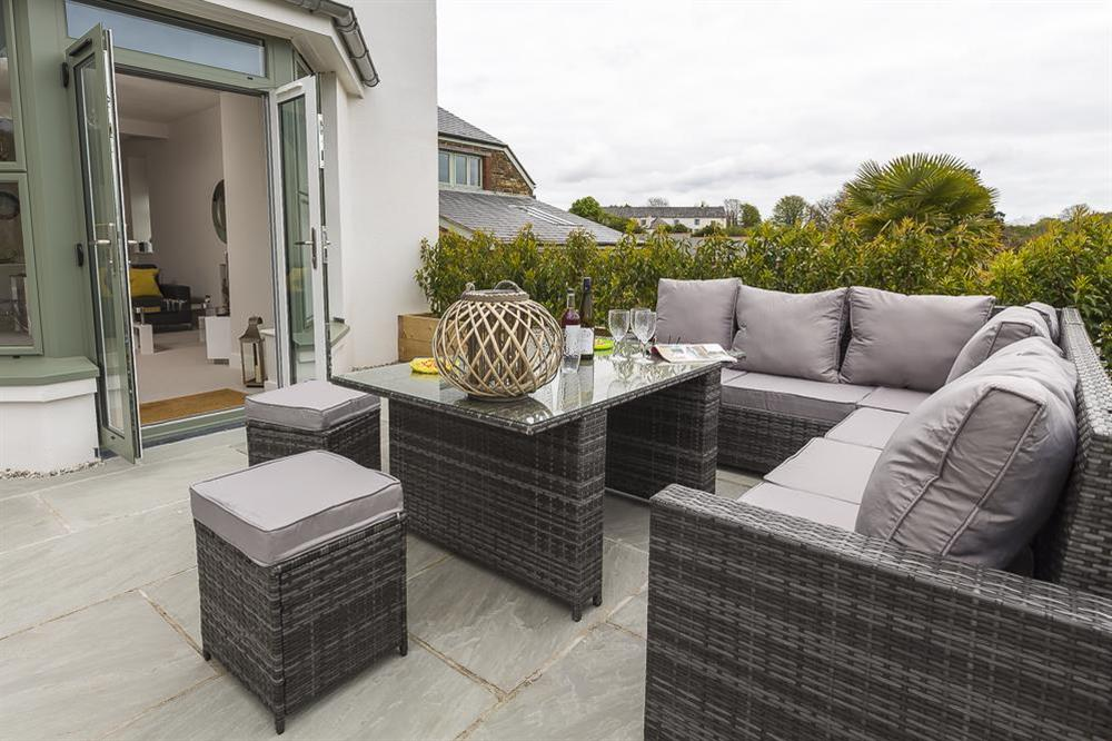 Large terrace area with garden furniture (photo 3) at 1 The Manor House, Hillfield Village in , Hillfield, Dartmouth