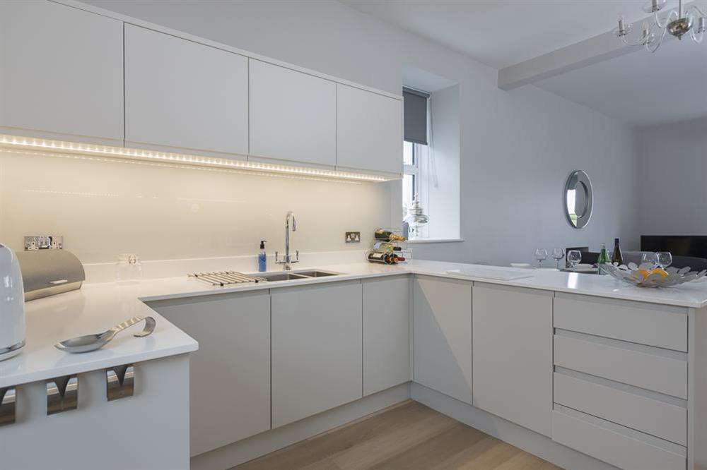 Superb, modern kitchen with contemporary floor and wall units at 1 The Manor House, Hillfield Village in , Hillfield, Dartmouth