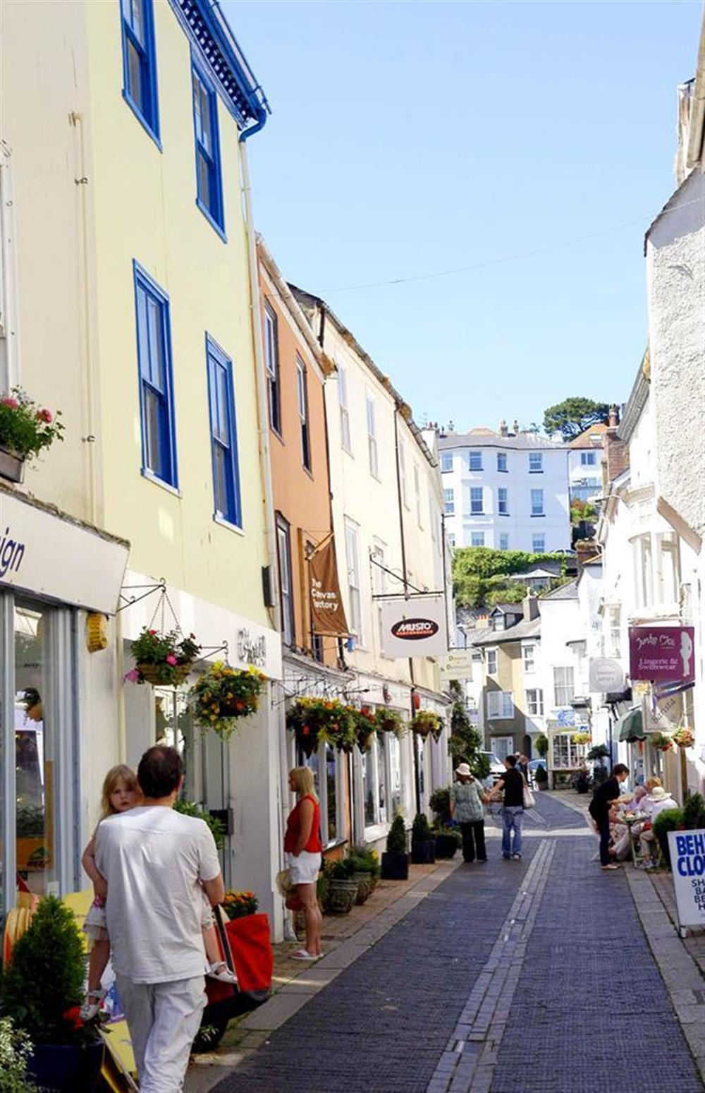 Delightful shopping streets in Dartmouth - lots of boutique and independent shops, bistros and cafes.