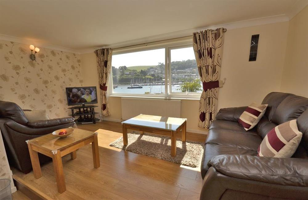 The lounge area which boasts superb estuary views at 1C Mayflower Court, Dartmouth