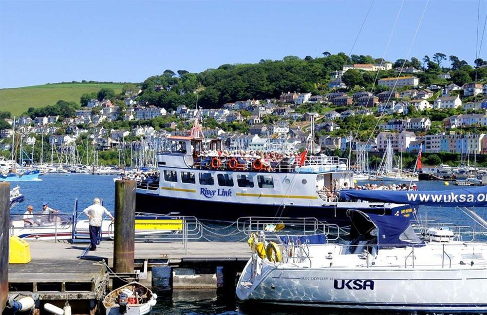 The River Link ferry departing the pontoon for a sightseeing trip at 1C Mayflower Court, Dartmouth