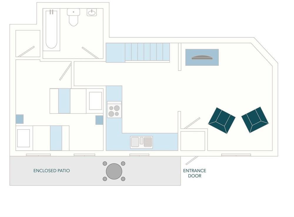 2 Castle Cottage Floor Plan - Ground Floor at 2 Castle Cottage in Bow Creek, Nr Totnes, South Devon., Great Britain
