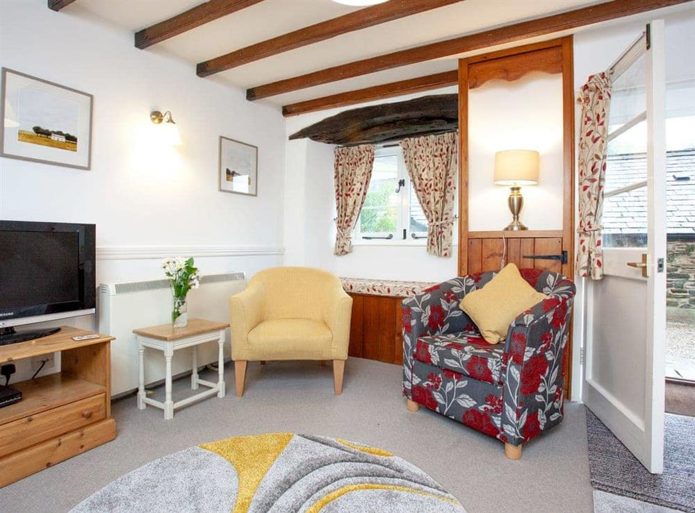 Living room at 2 Castle Cottage in Bow Creek, Nr Totnes, South Devon., Great Britain