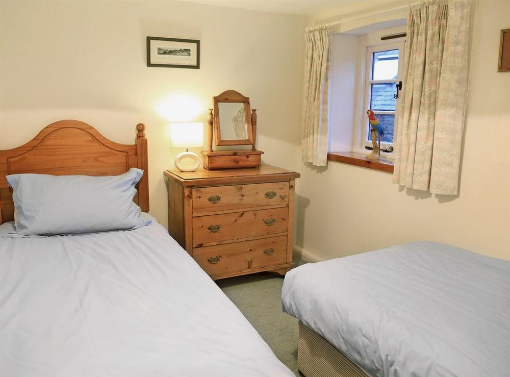 Twin bedroom at 2 Castle Cottage in Bow Creek, Nr Totnes, South Devon., Great Britain