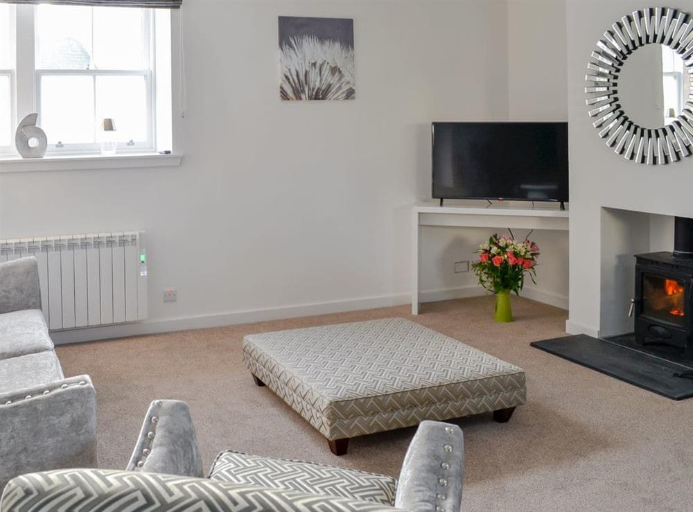 Comfortable living area with wood burner at 2 Old Posting Stables in Gatehouse of Fleet, Kirkcudbrightshire