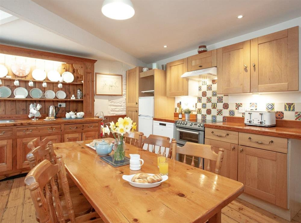 Kitchen/diner at 2 Salle Cottage in Bow Creek, Nr Totnes, South Devon., Great Britain