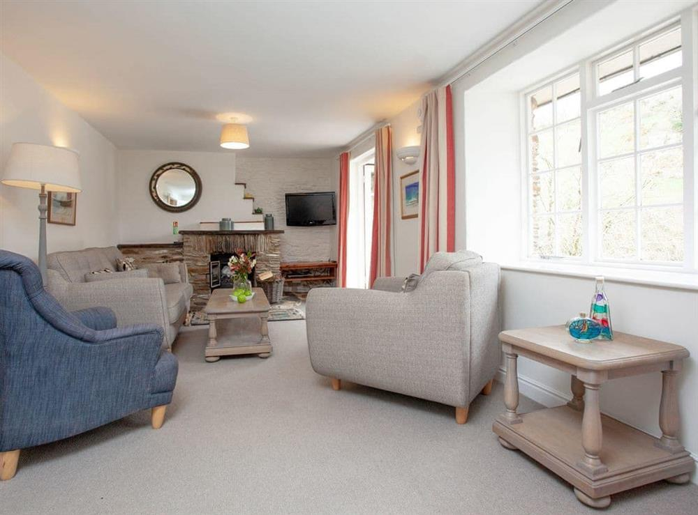 Living room at 2 Salle Cottage in Bow Creek, Nr Totnes, South Devon., Great Britain