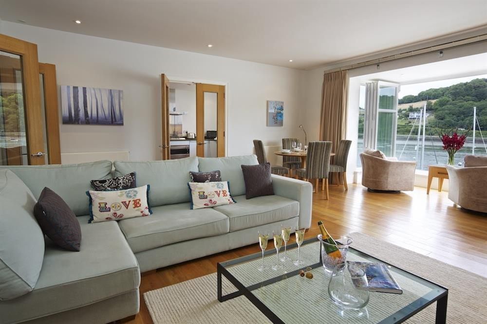 Lounge/Dining area with lovely views up and down the river and across to Kingswear at 22 Dart Marina in , Dartmouth