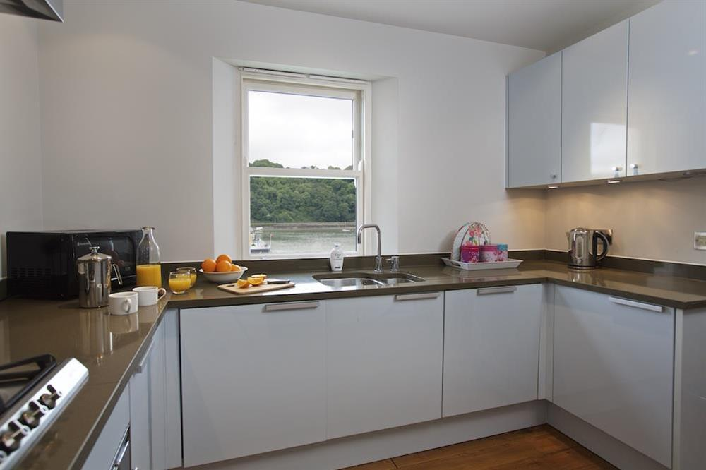 Stunning kitchen area with views over the River Dart at 22 Dart Marina in , Dartmouth