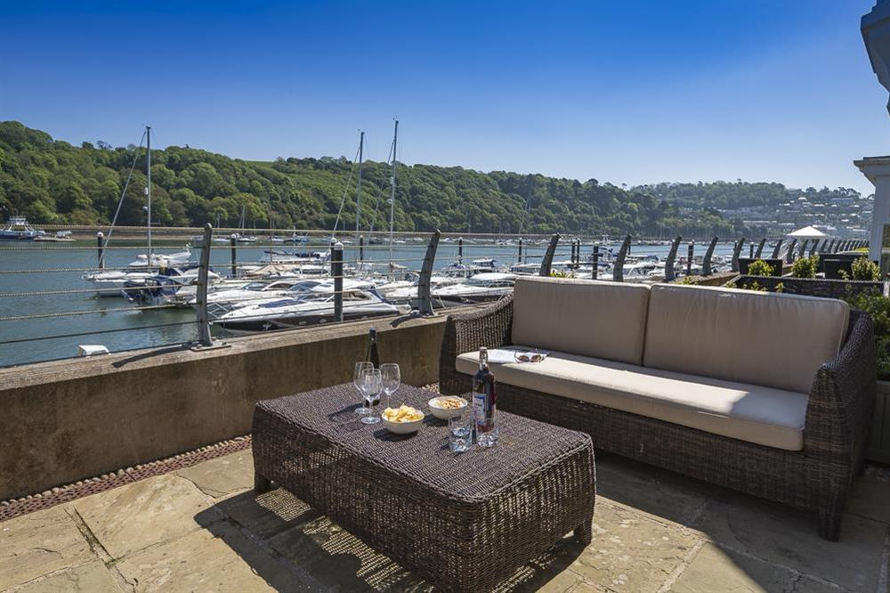 Furnished terrace with river views at 28 Dart Marina in , Dart Marina