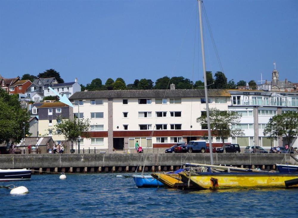 Mayflower Court from the water with the apartment arrowed at 2A Mayflower Court, Dartmouth