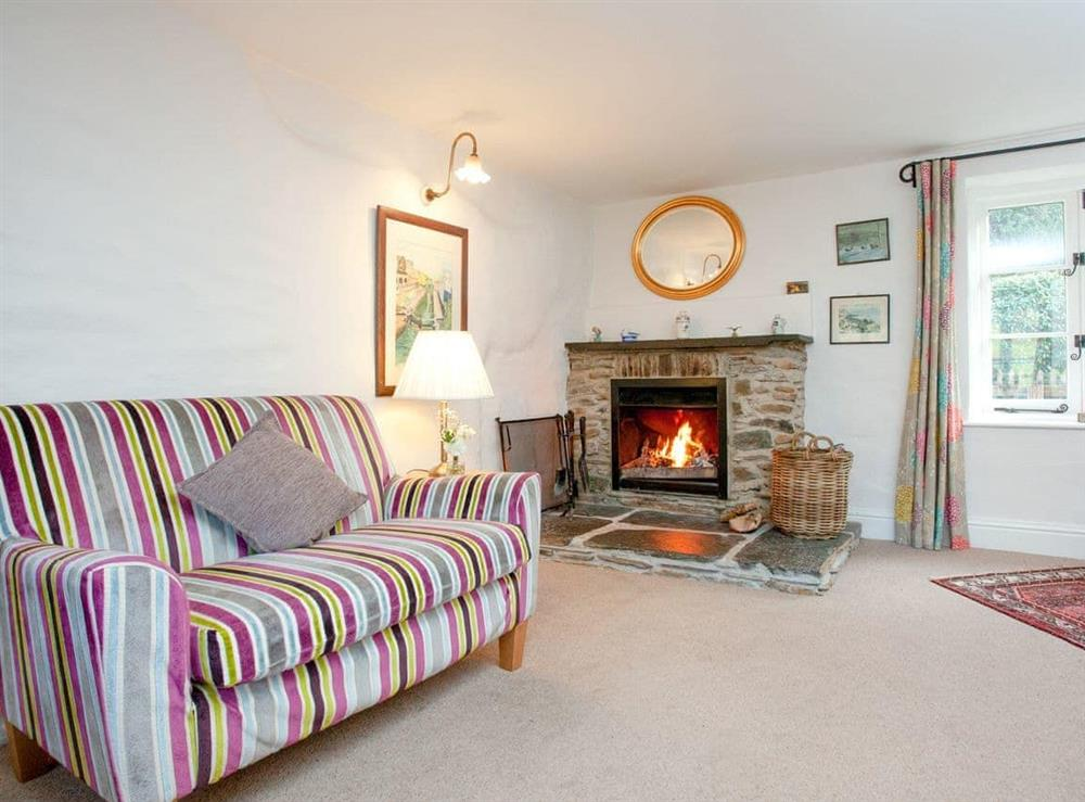Living room at 3 Castle Cottage in Bow Creek, Nr Totnes, South Devon., Great Britain