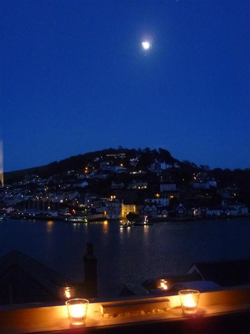 Looking across to Kinswear at night at 3 Dartview in South Town, Dartmouth
