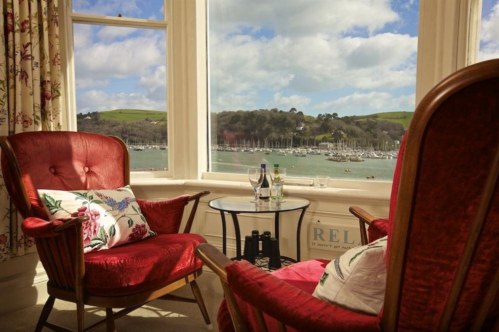 Lovely views over the River Dart from the lounge window at 3 Dartview in South Town, Dartmouth