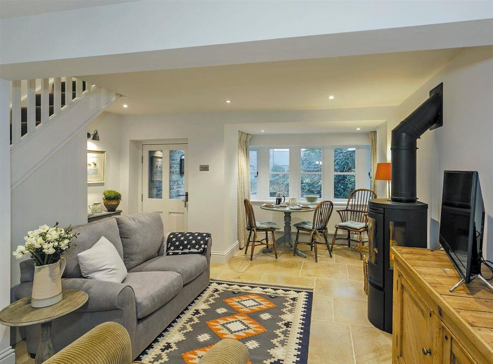 Beautifully decorated open plan living space at 3 Healey Cottage in Shelley, near Huddersfield, West Yorkshire