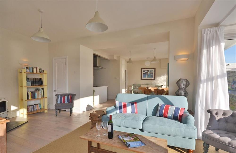 The sunny sitting room area at 3 River View, Stoke Gabriel