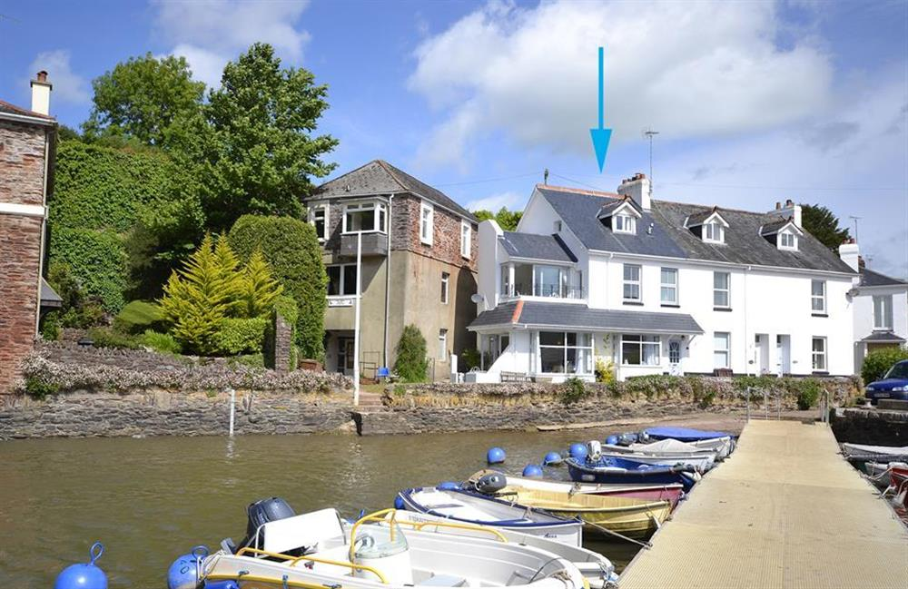 The view of the cottage from the pontoon at 3 River View, Stoke Gabriel