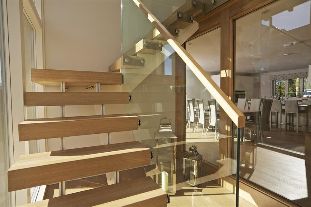 Oak and glass staircase to the first floor (photo 2) at 3 The Drive in , Hillfield, Dartmouth