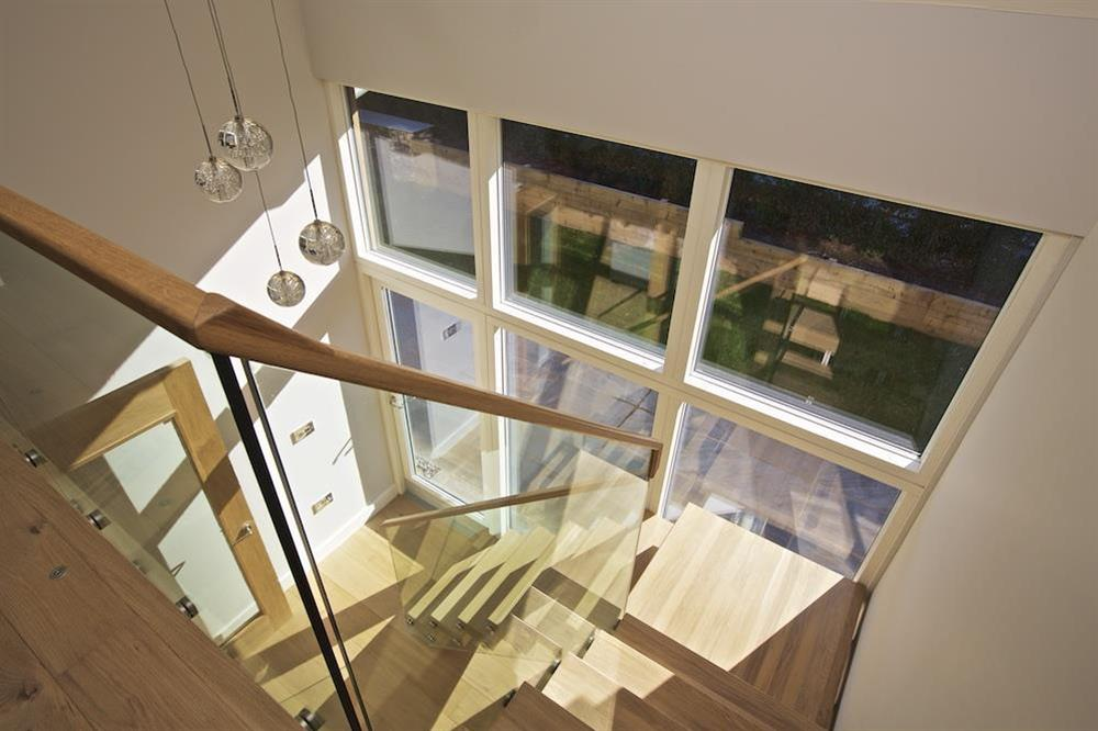 Oak and glass staircase to the first floor (photo 3) at 3 The Drive in , Hillfield, Dartmouth