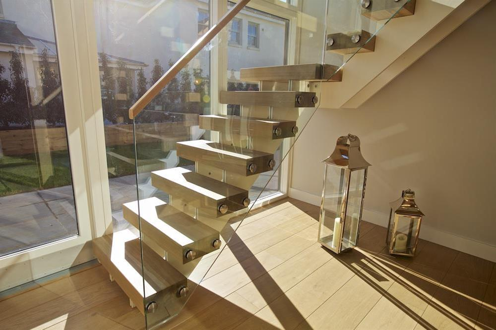 Oak and glass staircase to the first floor at 3 The Drive in , Hillfield, Dartmouth