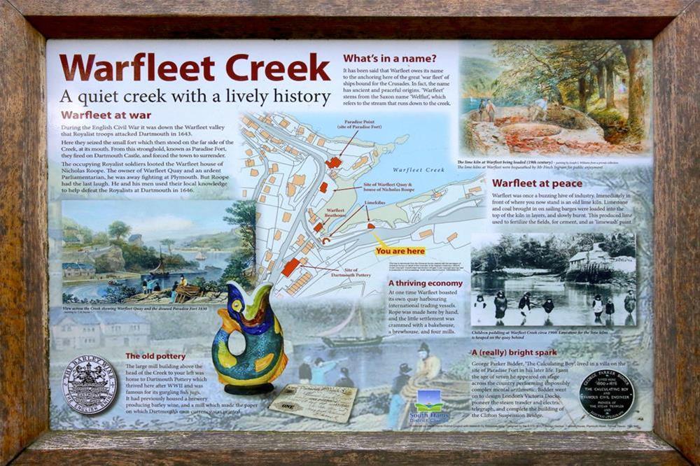 Warfleet Creek information board at 3 The Pottery in , Dartmouth