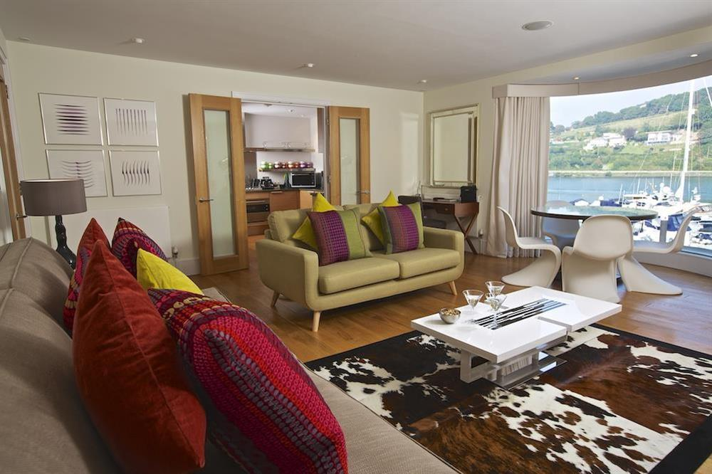 Contemporary lounge with lovely river views at 32 Dart Marina in Dart Marina, Dartmouth
