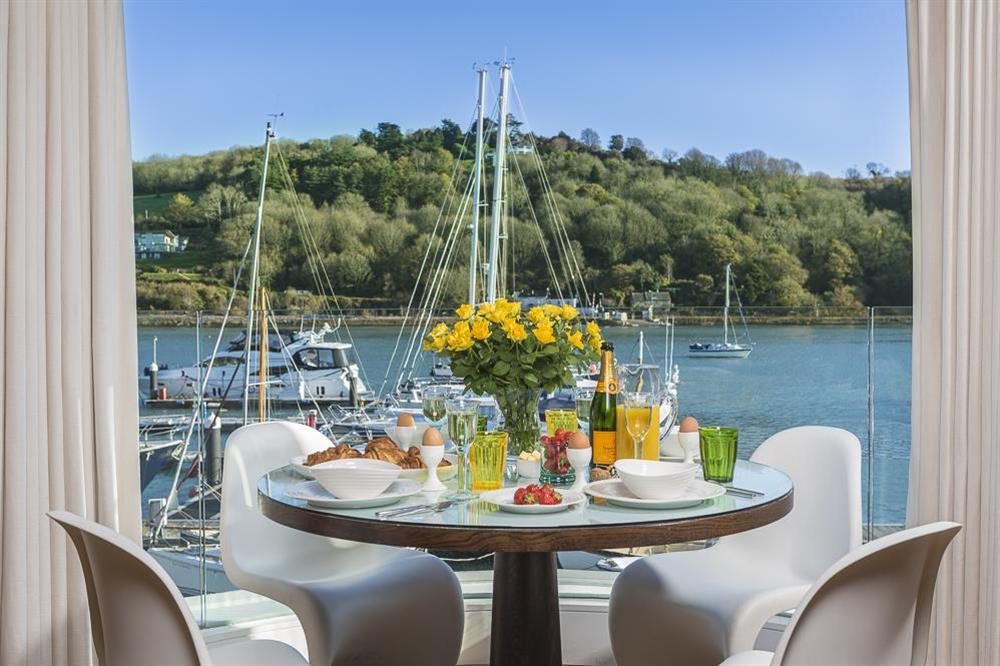 Stunning views of the River Dart from the dining area at 32 Dart Marina in Dart Marina, Dartmouth
