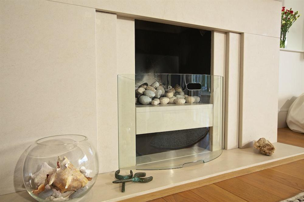 Contemporary gas fire (for decorative purposes only) at 35 Dart Marina in Sandquay Road, Dartmouth