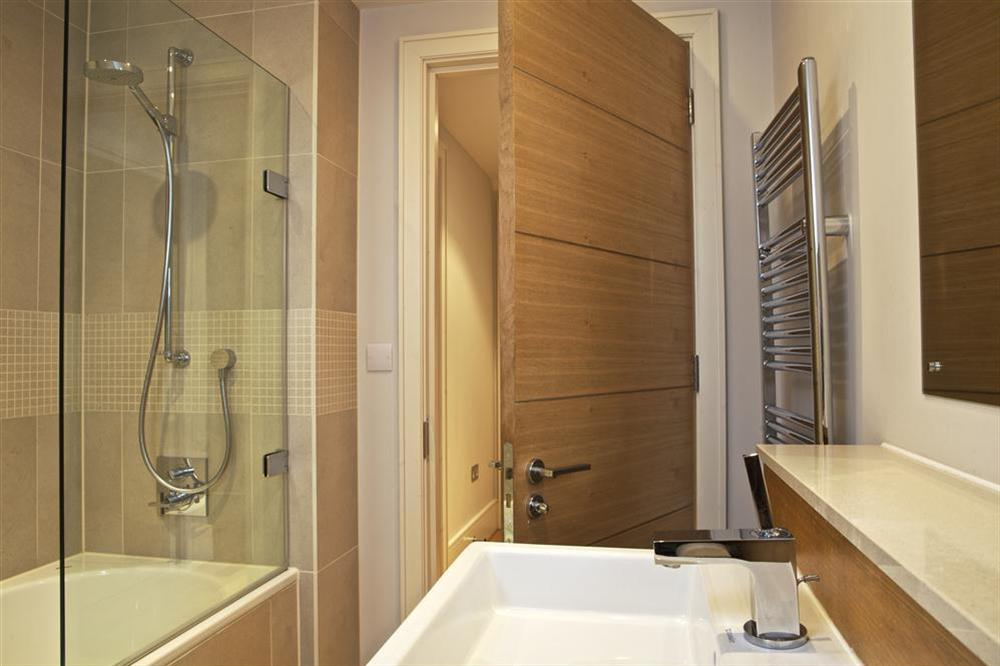 The beautiful bathroom has a Kadelwei bath at 36 Dart Marina in Sandquay Road, Dartmouth