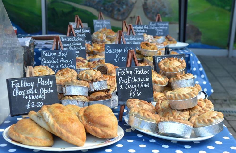 Locally made pies at Totnes market at 4 Ramparts Walk, Totnes