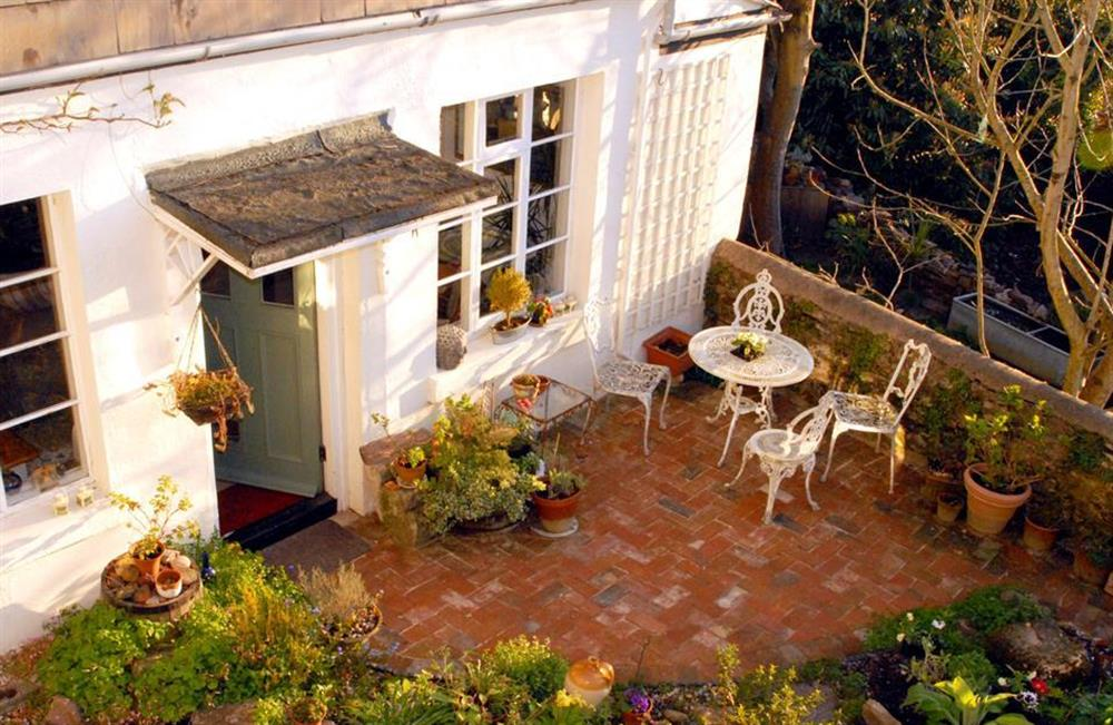 Looking down over the patio - perfect for al fresco dining at 4 Ramparts Walk, Totnes