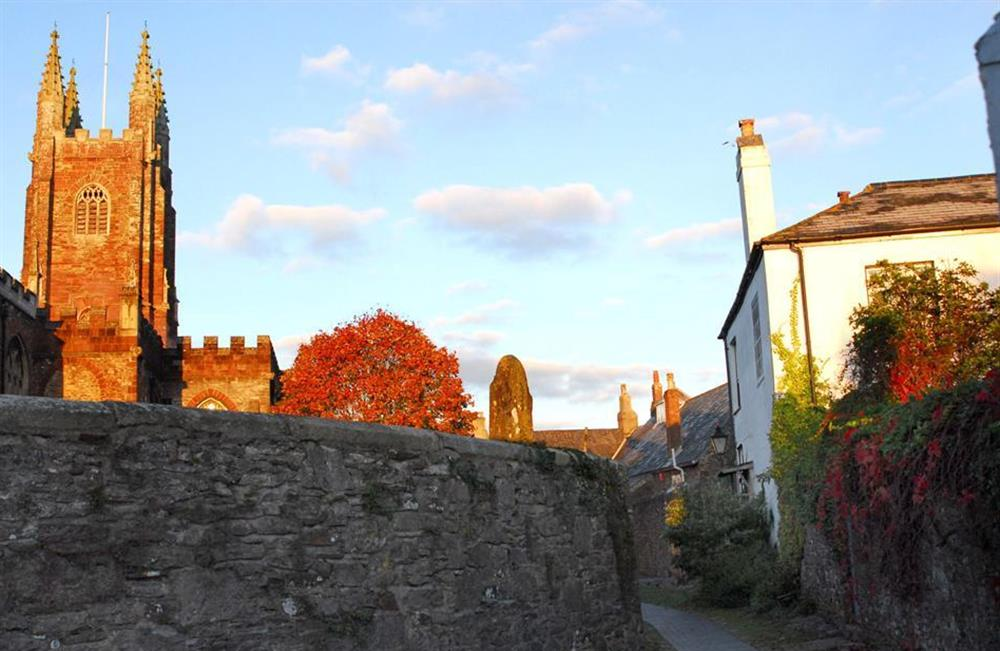 View of the church from the lane at 4 Ramparts Walk, Totnes
