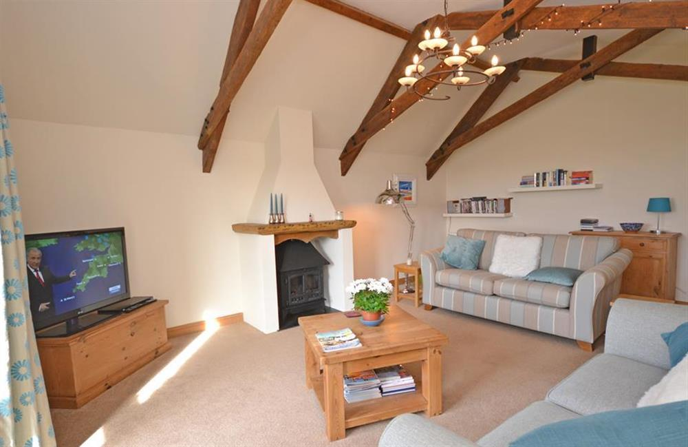 Lovely high vaulted ceilings in the lounge at 5 West Hartley Barns, Blackawton