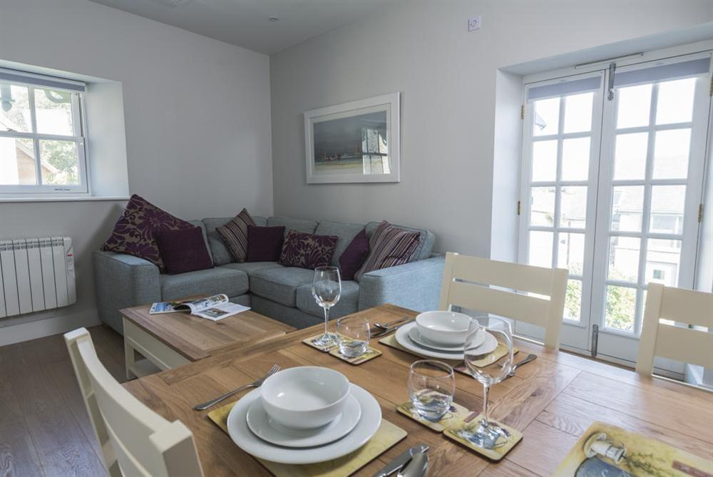 Stunning open-plan living area with Juliet balcony at 6 The Manor House, Hillfield Village in , Hillfield, Dartmouth