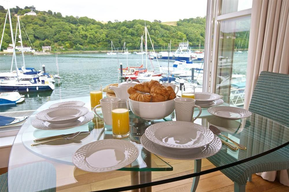 Stunning views from 'internal' balcony at 7 Dart Marina in Sandquay Road, Dartmouth