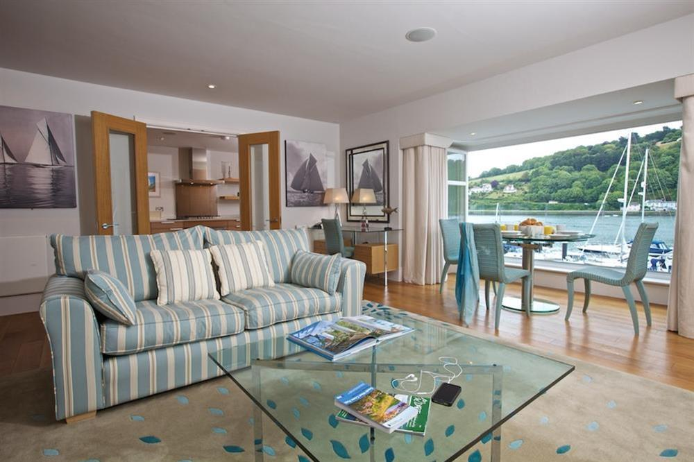 Stylishly elegant lounge with two double sofas at 7 Dart Marina in Sandquay Road, Dartmouth