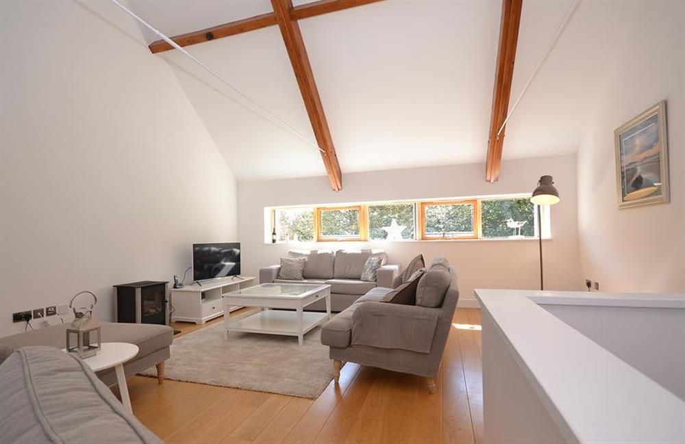 The spacious lounge with high ceilings at 7 Dufour, East Allington