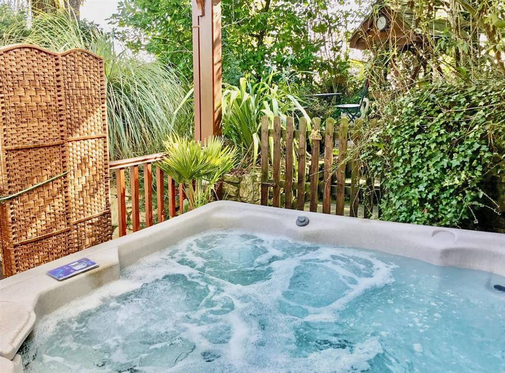 Hot tub at Acorns in Dolphin, near Holywell, North Wales Borders, Clwyd