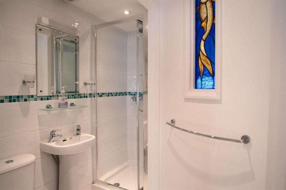 En suite shower room at Aeolus House in 42 Newcomen Road, Dartmouth