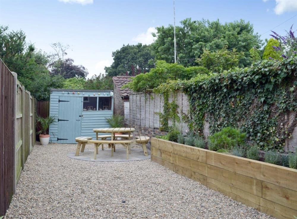 Outdoor area with seating at Albion Cottage in Pakefield, near Lowestoft, Suffolk