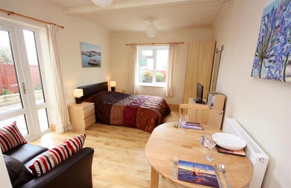 Open plan studio living area at Anning Road Studio, Lyme Regis