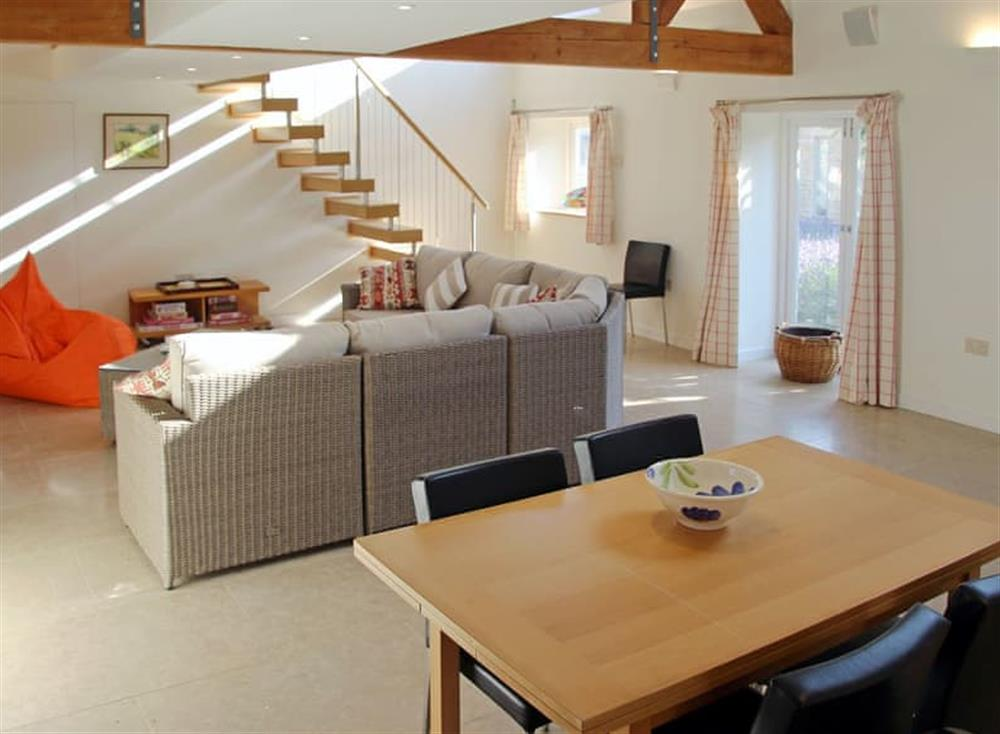 Light and airy open plan living space at Antells Farm Barn in Sturminster Newton, Dorset