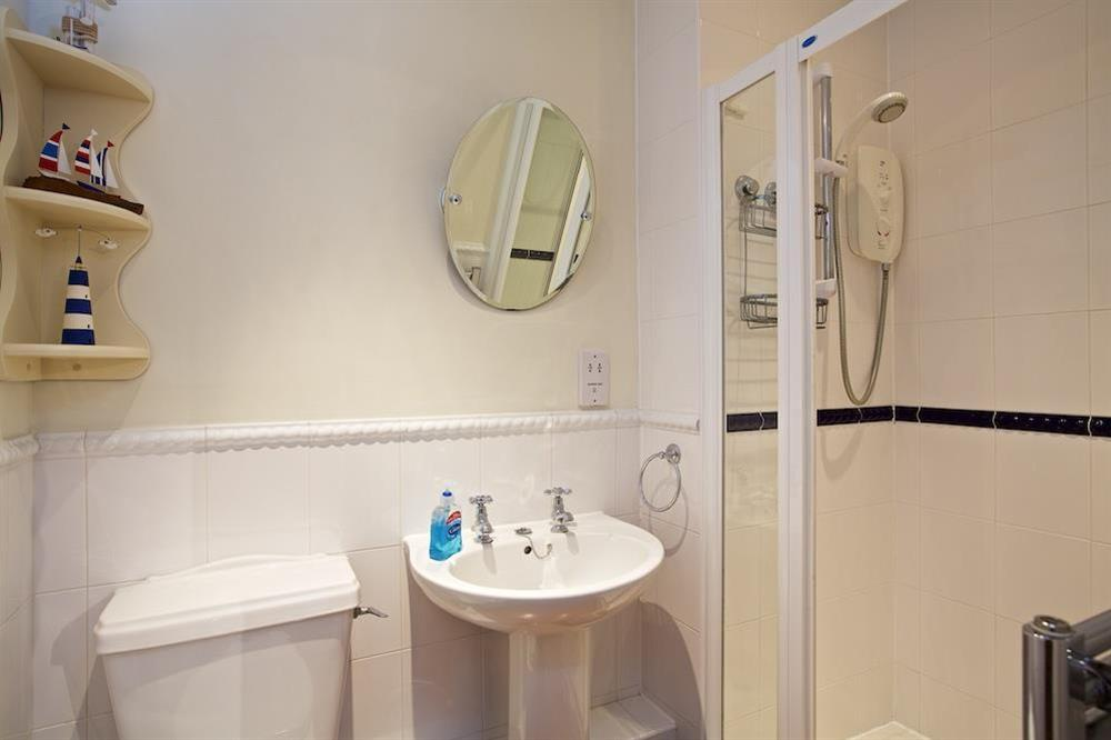 Downstairs bathroom with walk in shower at Armada Cottage in , Dartmouth