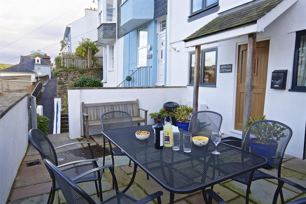 Outside seating at the front of the property at Armada Cottage in , Dartmouth
