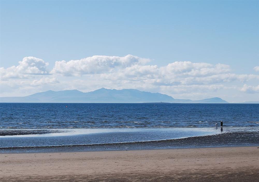 Sandy beach at Arran View in Prestwick, Ayrshire