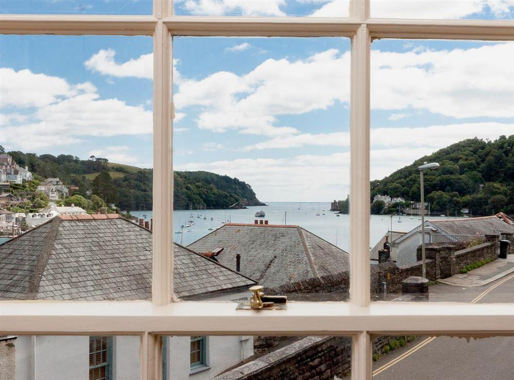Bay window with superb river views and out to sea at At Last in Dartmouth, Devon